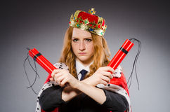 Woman queen businesswoman. With dynamite Royalty Free Stock Image