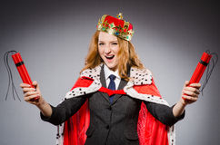 Woman queen businesswoman. With dynamite Royalty Free Stock Images