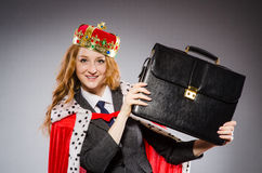 Woman queen businesswoman. In funny concept Stock Image