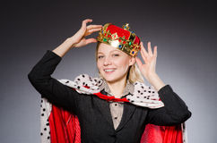 Woman queen businesswoman. In funny concept Royalty Free Stock Photo