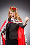 Woman queen businesswoman. In funny concept Stock Photos