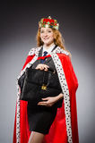 Woman queen businesswoman. In funny concept Royalty Free Stock Images
