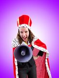 The woman queen in funny concept Stock Photo
