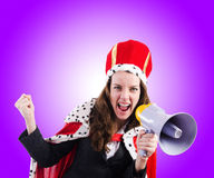 Woman queen in funny concept Stock Image