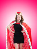 Woman queen in funny concept Royalty Free Stock Photo