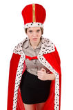Woman queen. Isolated on the white royalty free stock photo