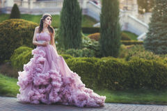 Woman queen, in a long dress. Stock Image