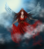 Woman queen with wings in  red dress in clouds, in sky. Stock Images