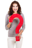 Woman question mark Royalty Free Stock Photos