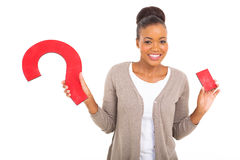 Woman question mark Stock Photography