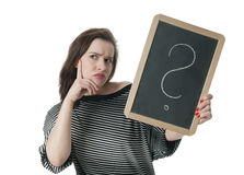 Woman with question mark on chalkboard Stock Photography