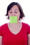 Woman with question mark on her mouth Stock Photos