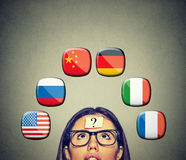 Woman with question mark icons of international flags above head. Work and travel immigration opportunity concept. Foreign language studying process. Woman with Stock Images