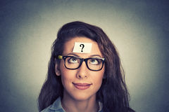 Woman with question mark Stock Photography