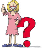 Woman with a question mark Royalty Free Stock Photography