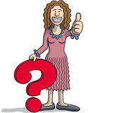 Woman with a question mark Stock Photography