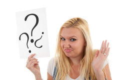 Woman with question marks Stock Images