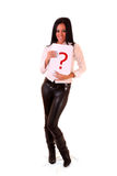 Woman with question sign Stock Photography