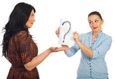 Woman questioning her friend royalty free stock photo