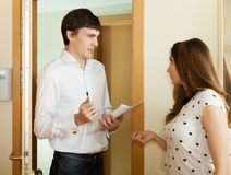 Woman questionnaire for male social worker Stock Images