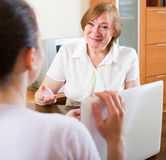 Woman questionnaire for  social worker Stock Photos