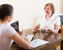 Woman questionnaire for  social worker Stock Photo