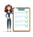 Woman with a questionnaire. Survey form icon vector, flat style good exam results paper sheet , quiz form idea, passed questionnaire, interview assessment Royalty Free Stock Images