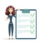 Woman with a questionnaire. Survey form icon vector, flat style good exam results paper sheet , quiz form idea, passed questionnaire, interview assessment Stock Photography
