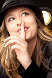 Woman quiet shush sign Stock Image