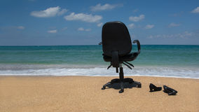 Woman quits, resigns or went on vacation. Woman, quits job, resigns or went on vacation Stock Photo