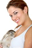 Woman with a rabbit Royalty Free Stock Photos