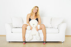 Woman with Rabbit Royalty Free Stock Photo