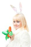 Woman in rabbit costume Stock Images