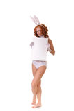 Woman in rabbit costume Royalty Free Stock Images