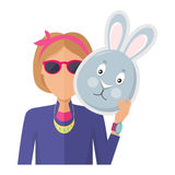 Woman with Rabbit Mask Flat Design Vector. Woman in sunglasses with rabbit or hare mask in hand flat vector illustration  on white background. Masquerade animal Stock Photo