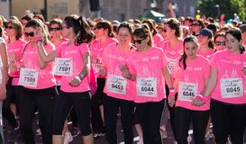 Woman Race against cancer Stock Photo