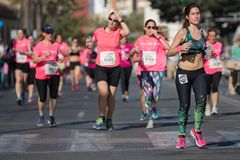 Woman Race against cancer Royalty Free Stock Image
