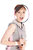 Woman with racket. Isolated on white Stock Image