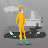 Woman in radiation protective suit. Royalty Free Stock Photography