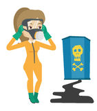 Woman in radiation protective suit. Royalty Free Stock Photos