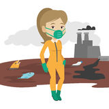 Woman in radiation protective suit. Royalty Free Stock Images