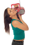 Woman with radio Stock Images