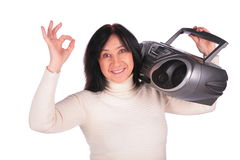 Woman with radio gives gesture OK Stock Photos