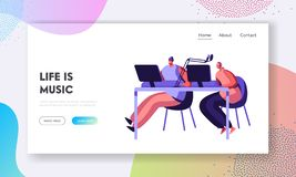 Woman Radio Presenter in Headphone Working in Studio Landing Page. Female Character Talking in Microphone. Dj Girl Play Music. Broadcast Show Website or Web royalty free illustration