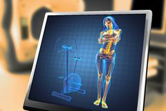 Woman  radiography scan in gym room Stock Images