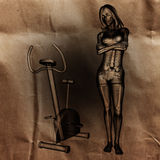 Woman  radiography scan in gym room painted Stock Photo