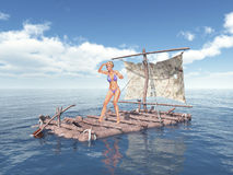 Woman on a raft. Computer generated 3D illustration with a woman on a raft Stock Photo