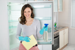 Woman With Rag And Spray Bottle Near The Fridge. Young Beautiful Woman Standing With Rag And Spray Bottle Near The Open Fridge royalty free stock image