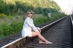 Woman and railroad Royalty Free Stock Photography