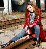 Woman on railroad Royalty Free Stock Image